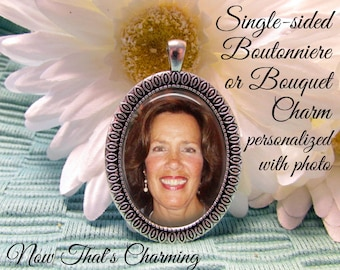 SALE! Memorial Boutonniere or Bouquet Charm - Oval - Personalized with Photo - Antique Silver or Bronze- Cyber Monday