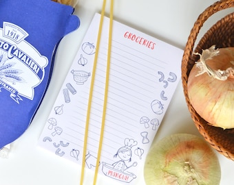 Grocery list, notepad, to do list