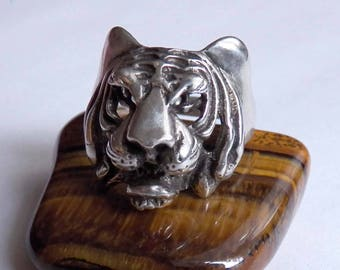 Men's Tiger Ring Cool Sterling Silver Ring Male Animal Jewelry For Biker Guys