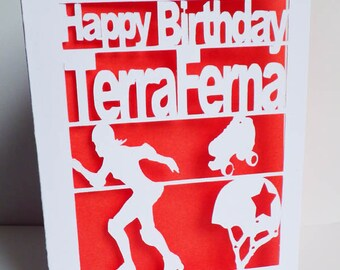 Roller Derby Birthday Card, derby girl Greetings Card, Card Cut Out, Recycled Birthday Card, Colour insert, Personalised Birthday Card, Card