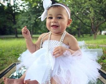 Baby white tutu - tulle white tutu - first birthday tutu dress - photo prop tutu - flower girl tutu - wedding tutu