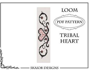 Tribal Heart Tattoo Loom Bead Pattern Square Stitch Love Loom Bracelet Gothic Delica Seed Beads Beading Black Heart Love Romantic Bookmark