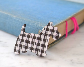 Scottie Dog Wooden Brooch in Black and White Check - Dog Pin - Scottie Pin - Dog Badge - Checked Dog Brooch