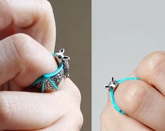 Bat Ring, Custom Colored Animal Wrap ring, Birthday Gift, Batman ring