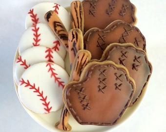 Assorted Baseball Cookies - Baseball, Baseball Bat, Catcher's Mitt or Glove