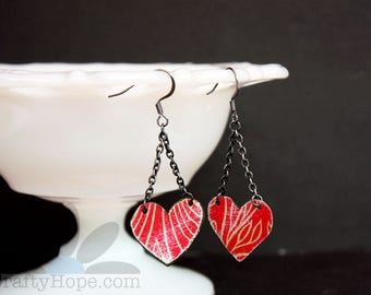Red Tin Heart Earrings - upcycled tin, hearts, gunmetal, Valentine's Day, earrings, cute