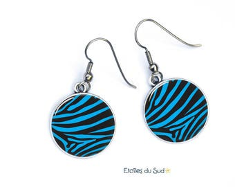 Blue and black zebra earrings, surgical steel hooks, ref. G344