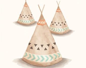 "Teepee Print 8""x10"" / A4 Bohemian/Tribal Nursery Art Print - Perfect for Baby Boy Nursery or Baby Girl Nursery, kids wall art"