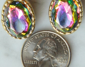 Earrings, Aurora Borealis Clip-On, 1960s, Very Good Vintage Condition