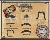 Old Mustache Styles Printable 11x14 Aged Barber Shop Steampunk Victorian Gentlemen Sign Mustache Names Gunslinger Strong Man Vault Keeper