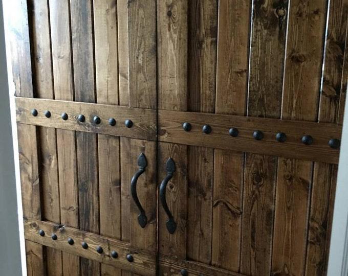 Featured listing image: Interior Double Barn Door Package - Double Doors - Sliding Wooden Door - Barn Door Hardware - Farmhouse Style Barn Door - Barn Door Package