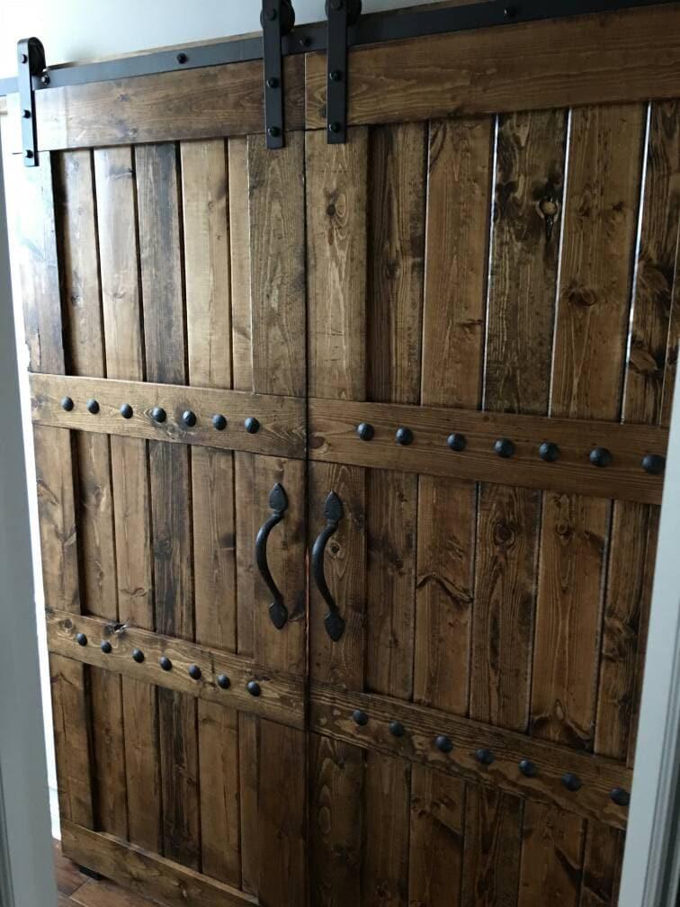Interior Double Barn Door Package   Double Doors   Sliding Wooden Door    Barn Door Hardware   Farmhouse Style Barn Door   Barn Door Package