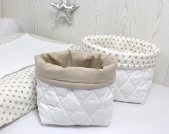 Duo of baskets in padded, white and beige fabric, attached to the set beige stars