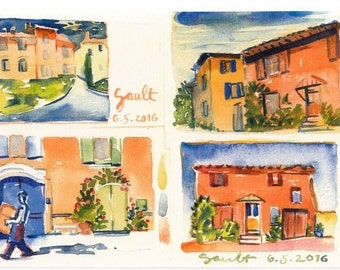 "Goult, Luberon in Provence, Watercolor travel print, size:A4 8.24"" X 11.75"""