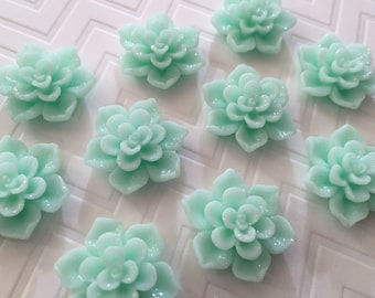 Flower Magnet Set of 10 - Mint Green/Light Teal Flowers - dorm decor, hostess gift, weddings, bridal shower, baby shower, gift