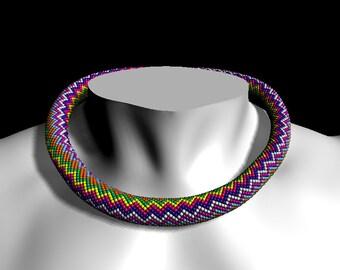 "Bead Crochet rope pattern necklace or bracelet ""Colorful zigzag"", Bead Necklace Pattern, Crochet Rope Pattern, PDF Instant Download Pattern"