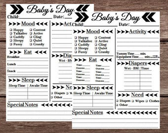 Modern Baby's Day Daycare - Mood Eat Sleep Activity Daily Infant Tracker Routine - Baby & Child Schedule Planner Childcare Journal Log Form
