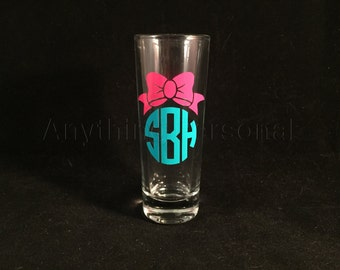 Personalized Shot Glass, Bow Monogram Shot Glass, Bridal Party Gift, Shot Glass, Monogram Gift, Bachelorette Party, GNO, Bridesmaid Gift