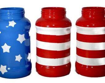 4th of July Mason Jars - Flag Mason Jars - American Flag Mason Jars - America Flag Decor - Stars and Stripes - 4th of July - Fourth of July