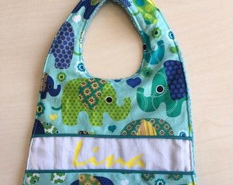 Baby bib personalized elephant pattern