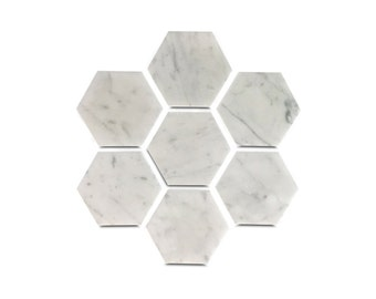 Six Geometric Coasters in White Carrara Marble - Set of Six Hexagon Coasters with Cork Backing