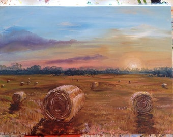 Hay Bales. Original Painting