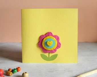 Spring Flower Card, Mothers Day Card, Paper Mache Flower, Flower Greeting Card, Artistic card, Floral Spring Card, All Occasion Card