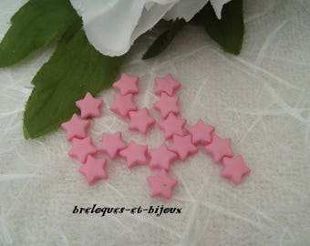 Acrylic beads star ROSES 9 mm set of 10 spacer beads for jewelry creations