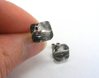 Tiny Studs, Black and Clear Tile pattern, Handmade post earrings Perspex, Jessica Sherriff