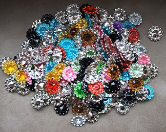25pcs Grab Bag 11mm acrylic rhinestones - Mini Acrylic Buttons - Flower center - 11mm Button - Wholesale Buttons - rhinestone embellishment