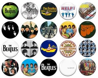 20x The Beatles Band Rock Pop 60s Psychedelia John Lennon Paul McCartney George Harrison Ringo Starr 25mm / 1 Inch D Pin Button Badges