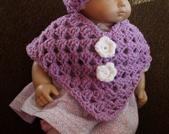 "Doll Poncho and Hat set - Lavender with White Flowers - 18"" Doll Baby Doll"