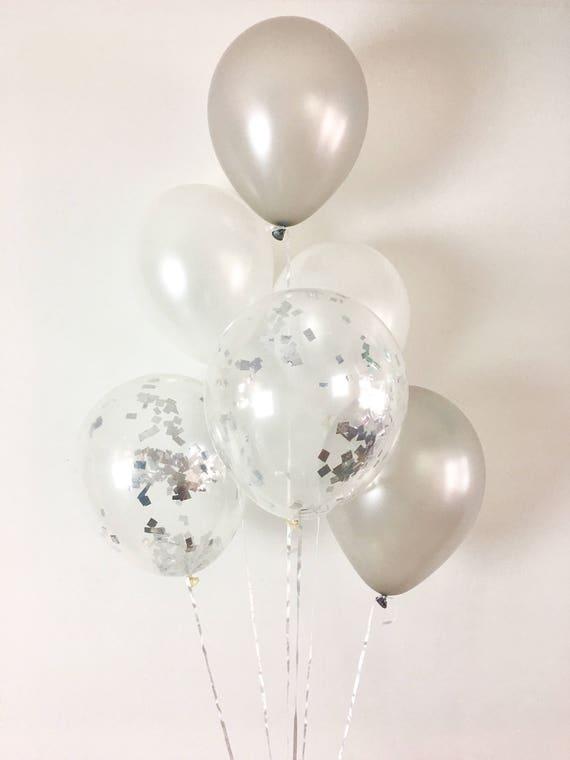 Silver Pearl White Silver Confetti Latex Balloons White And