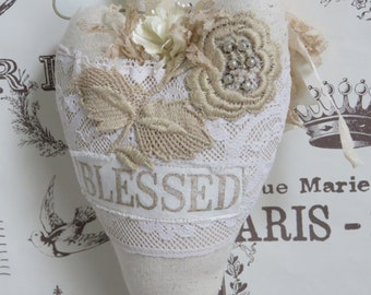 Linen and Vintage Lace Blessed Heart with Prayer Gift Pocket, Mother's Day Gift, Inspirational Gift, FREE USA SHIPPING