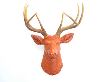 Deer Head Wall Mount in Burnt Orange - Deer Head Antlers Faux Taxidermy D2000