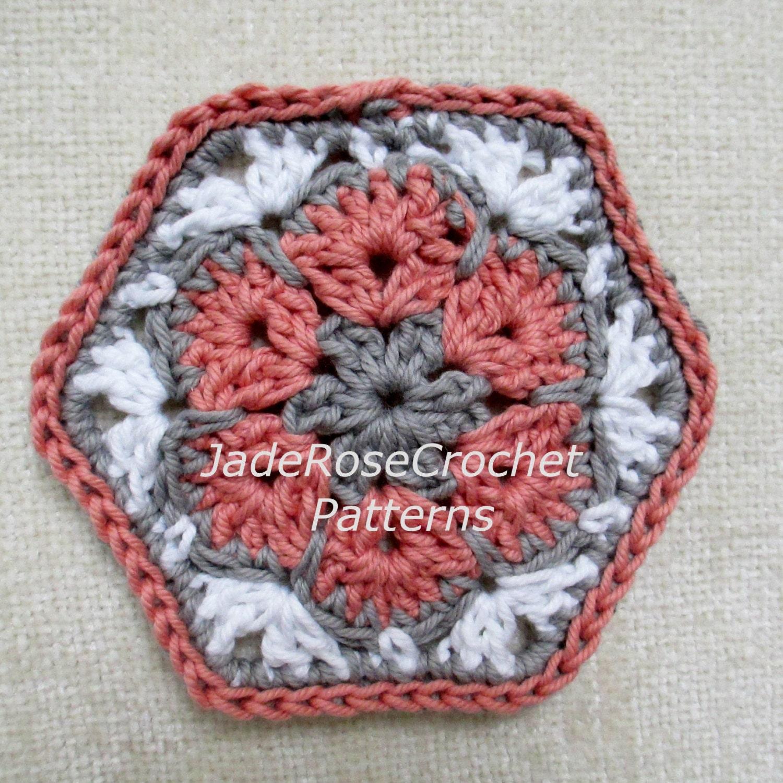 Crochet Hexagon Pattern, Crochet African Flower Pattern, Crochet ...