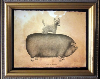 Westie West Highland Dog Riding Pig - Vintage Collage Art Print on Tea Stained Paper -  dog art -  - father's day gift- graduation gift