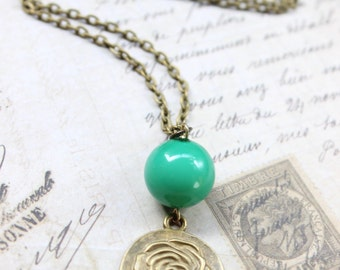 Teal and Rose Flower Round Pendant Necklace