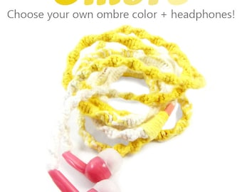 iPhone 8/7 Earpods - Design Your Own Headphones - Choose Your Own Ombre Color & Earbuds - Tangle Free Earphones - Custom Handmade Tech Gift