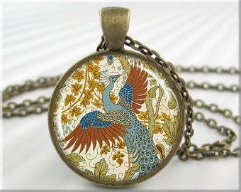 Peacock Art Pendant, Walter Crane Art, Fig and Peacock, Woodblock Art, Picture Pendant, Round Bronze, Gift Under 20 (697RB)