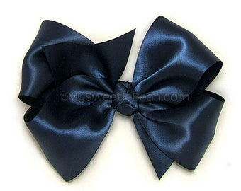 "Navy Satin Hair Bow, 6 Inch Big Satin Bow, Navy Extra Large Boutique Bow, 6"" King Size Bow for Women, Girls Satin Bow, 60 Colors"