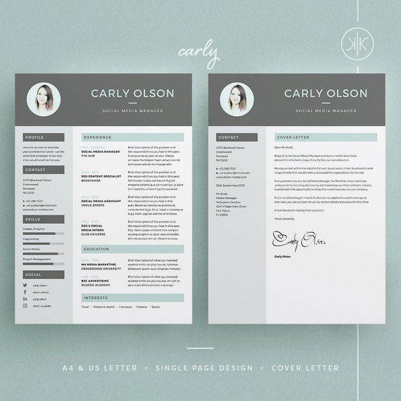 Carly Resume/CV Template Word Photoshop InDesign