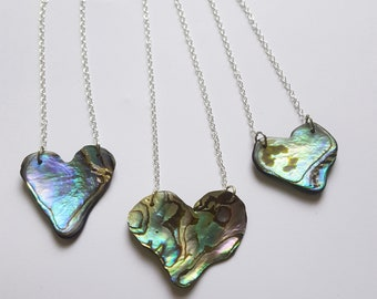 Heart Shaped Paua shell pendant necklaces abalone ocean sea New Zealand Maori beach kiwi