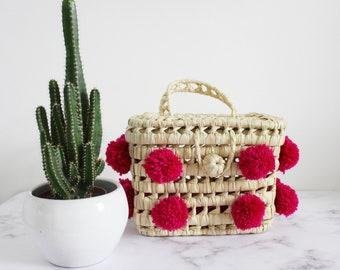 moroccan small hot pink pompom basket bag