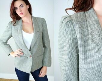 Vintage 80s Gray Wool Blazer