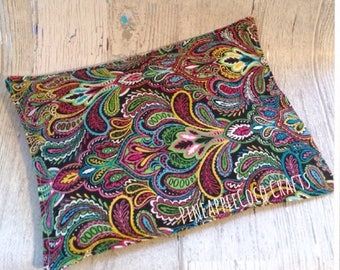 Colorful paisley heating bag, microwave heat pack, corn bag, relaxation, floral, get well gift, muscle pain, neck strain, mom gift