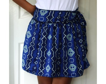 Royal Blue Mini Skirt with sash belt - Ready to ship