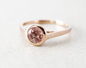 Rose Gold Dusty Pink Tourmaline Ring - Round Cut Tourmaline