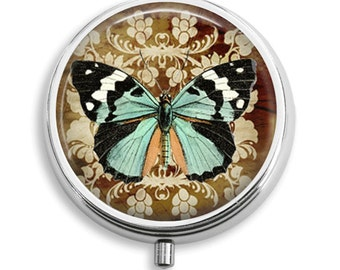 Pill Case Damask Butterfly Teal Black White Sepia Pill Box Case Trinket Box Vitamin Holder Medicine Box Mint Tin Gifts For Her