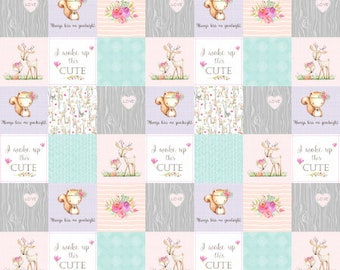 Baby Girl Woodland Patchwork Quilt Fabric, Baby Blanket Fabric, Woodland Nursery Fabric, Minky Blanket Fabric, Cotton Quilt Fabric